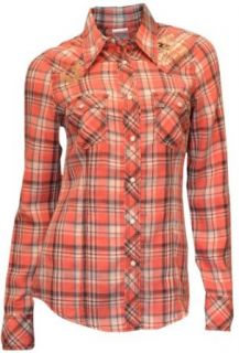 True Religion Brand Jeans Women's Swarovski Crystal Flannel Shirt Red $158 Clothing