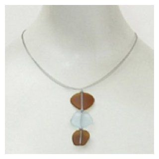 Handcrafted Seaglass Brown and Light Blue Recycled Sea Glass Large Necklace 627t 162 Jewelry