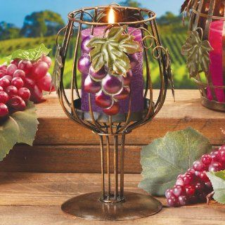 Hand Painted Metal Wine Glass Candle Holder Kitchen & Dining