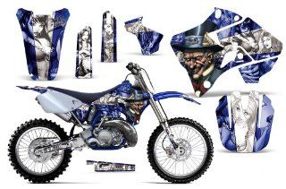 Mad Hatter AMRRACING MX Graphics decal kit fits Yamaha YZ 125/250 (1996 2001) Blue White ST Automotive