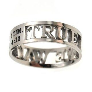 "Christian Women's Stainless Steel Abstinence 6mm ""True Love Waits"" 1 Timothy 412 Cutout Mini Silhouette Chastity Ring for Girls   Girls Purity Ring Jewelry"