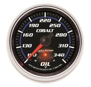 "Auto Meter 7956 Cobalt 2 5/8"" 100 340 Degree F Full Sweep Electric Oil Temperature Gauge with Peak Memory and Warning Automotive"
