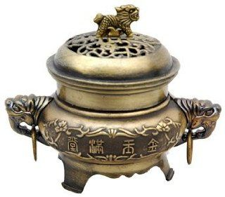 "Unique New Age Gift Idea Him Her Man Woman  5"" Chinese Brass Temple Incense Burner Censor  Mens Unique Gifts"