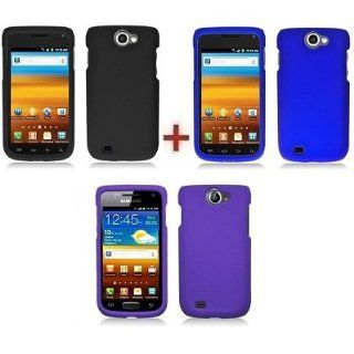 Bundle Accessory for T Mobile Samsung Exhibit II 4G T679 Accessory   Black+Blue+Purple Rubberized Designer Protector Hard Case Snap On Cover + SogaWireless Stylus Pen Cell Phones & Accessories