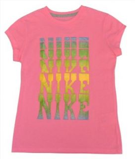 "NIKE Girls' ""Nike Glitter"" Bling Casual Shirt Top Pink Medium  Fashion T Shirts  Clothing"