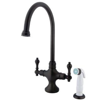 Kingston Brass KS1765AL Vintage Gooseneck Kitchen Faucet with Metal Lever Handles and Side Spray, Oil Rubbed Bronze