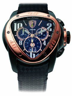 Tonino Lamborghini 170RB 2T Spyder Men's Chronograph Watch with Rose Gold Bezel and Black Leather Band Watches
