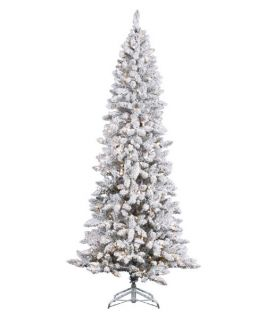 Vickerman Flocked Pencil Pine Pre Lit Christmas Tree   Christmas Trees