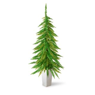2.5 ft. Decorative Collection Down Swept Green Tinsel Potted Christmas Tree   Christmas Trees
