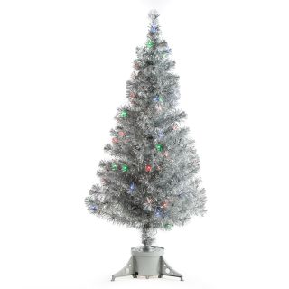 Silver Clover Medium Fiber Optic Pre lit Christmas Tree   5 ft.   Multicolor   Christmas