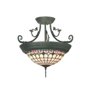 Dale Tiffany Diamond Edge Tiffany Hanging Fixture   17 watt in. Verdigris   Tiffany Ceiling Lighting