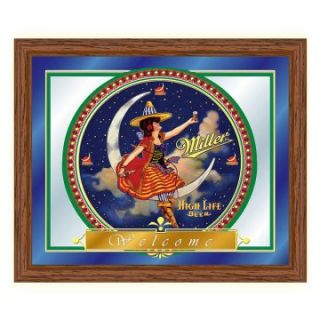 Miller High Life Girl in the Moon Mirror   19 x 16   Game Room & Billiards
