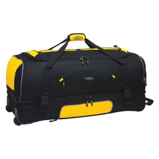 Travelers Club 36 in. 2 Section Drop Bottom Rolling Duffel Bag   Yellow/Black   Sports & Duffel Bags