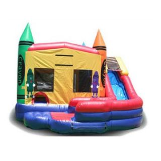 EZ Inflatables Double Drop Crayon Combo Bounce House   Commercial Inflatables