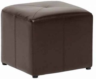 Baxton Studio Pebbles Cube Leather Ottoman   Dark Brown   Ottomans