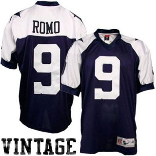 Reebok NFL Equipment Dallas Cowboys #9 Tony Romo Navy Blue Authentic Throwback Football Jersey