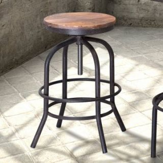 Zuo Modern Twin Peaks Adjustable Height Backless Counter Stool   Distressed Natural   Drafting Chairs & Stools