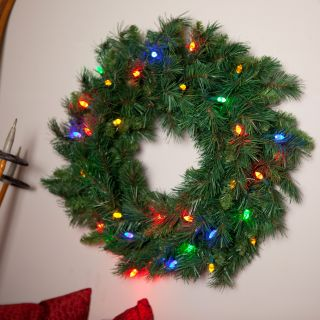 24 Inch LED Battery Operated Tiffany Prelit Wreath with Timer   Multicolor Lights   Christmas Wreaths