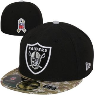 New Era Oakland Raiders Youth Salute to Service Fitted Hat   Black