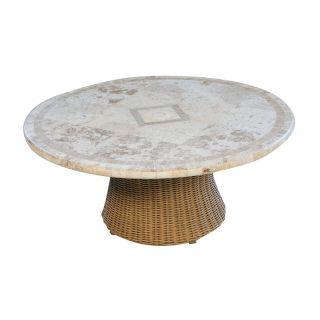 Lloyd Flanders Napa All Weather Wicker 42 in. Conversation Table with Natural Stone Top   Patio Tables