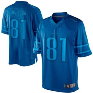 Nike Calvin Johnson Detroit Lions Drenched Limited Jersey   Light Blue
