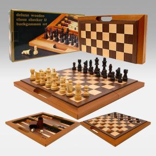 Deluxe Wooden Chess Checker & Backgammon Set   Chess Sets