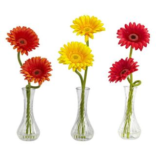Gerber Daisy with Bud Vase Set of 3   Silk Flowers
