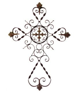 Parigi Cross Wrought Iron Indoor/Outdoor Wall Art   Outdoor Wall Art
