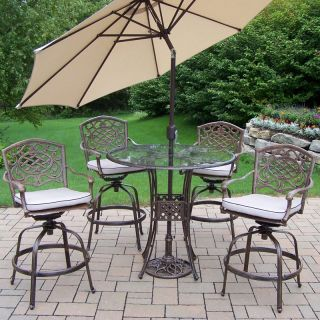Oakland Living Hummingbird Glass Top Bar Height Dining Set   Patio Dining Sets