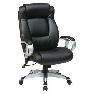 Office Star Executive Eco Leather Chair with Padded Height Adjustable Arms and Coated Base   Desk Chairs
