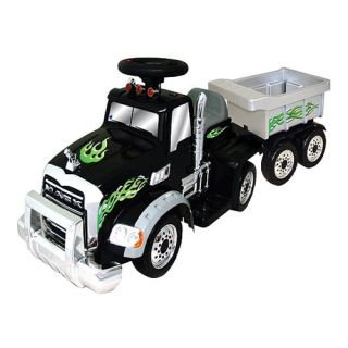 Battery Powered Mack Truck with Trailer   Black   Battery Powered Riding Toys