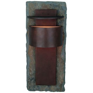 Kenroy Home Pembrooke Outdoor Wall Sconce   15H in. Natural Slate with Copper   Outdoor Wall Lights