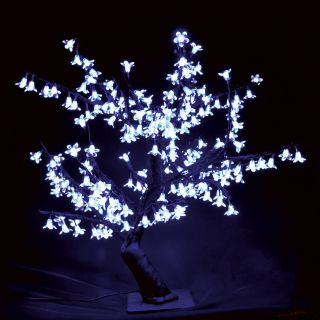 2.5 ft. Pre lit LED Cherry Blossom Tree   White   Christmas Trees