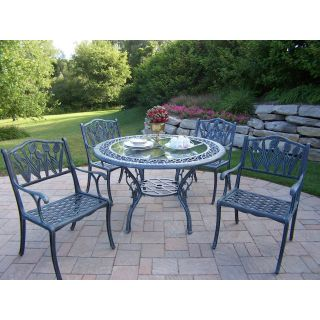 Oakland Living Mississippi Cast Aluminum 48 in. Glass Top Tulip Patio Dining Set   Seats 4   Patio Dining Sets