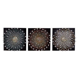Metal Flower Wall Art with Jewels   Set of 3   17W x 17H in. ea.   Wall Sculptures and Panels