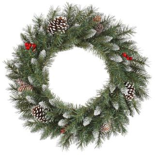 Vickerman 30 in. Pre Lit Frosted Tip Berry Wreath   Christmas Wreaths