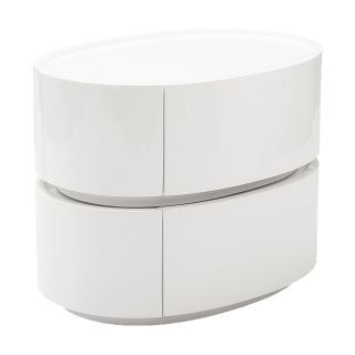 Euro Style Selma Side Table with Drawers   White Lacquer   End Tables