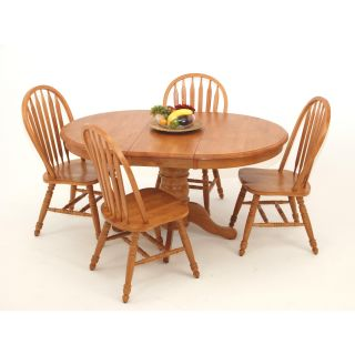 Casual Home Oval Pedestal Solid Wood Table   Dining Tables