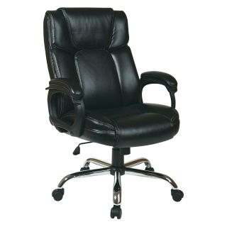 Office Star Executive Black Eco Leather Big Mans Chair with Padded Loop Arms and Chrome Base   Desk Chairs