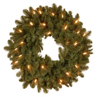 24 in. Feel Real Noble Deluxe Fir Pre Lit LED Christmas Wreath   Christmas Wreaths