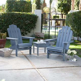 Pair of Cape Maye Weathered Adirondack Chairs with Side Table   3 Piece Set   Wedgewood Blue   Adirondack Sets