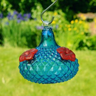 Jewel Hummingbird Feeder  Aqua   Bird Feeders
