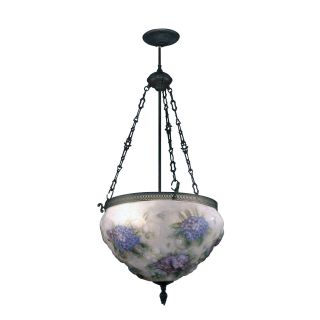 Dale Tiffany Hydrangea Pair Point Fixture   18W in. Antique Bronze Paint   Tiffany Ceiling Lighting