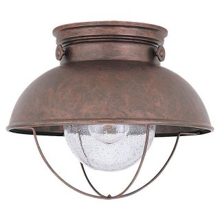 Sea Gull Sebring Outdoor Ceiling Light   9.25H in. Weathered Copper   Outdoor Ceiling Lights