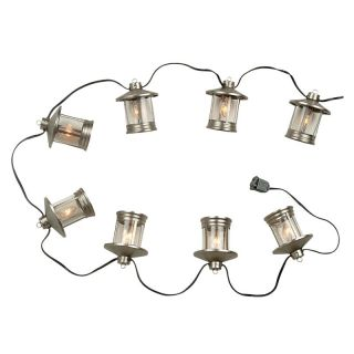 Royce 8 Lantern String Lights   Brushed Steel   Outdoor Hanging Lights