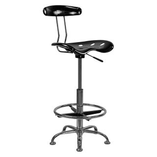 Vibrant Drafting Stool with Tractor Seat   Black and Chrome   Drafting Chairs & Stools