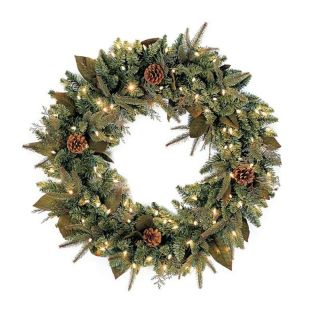 30 in. Pre lit Clear Light Green River Spruce Wreath   Christmas Wreaths