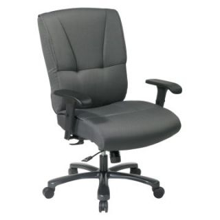 Office Star Big and Tall Deluxe Executive Chair with Mid Pivot Knee Tilt Gunmetal Finish Base and 2 Way Adjustable Arms   Desk Chairs