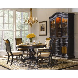 Hooker North Hampton 5 Piece Round Pedestal Dining Table Set with 20 Inch Leaf   Dining Table Sets