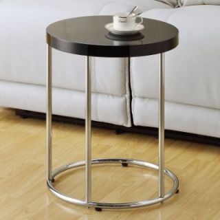 Monarch Round Chrome Metal Accent Table   Glossy Black   End Tables